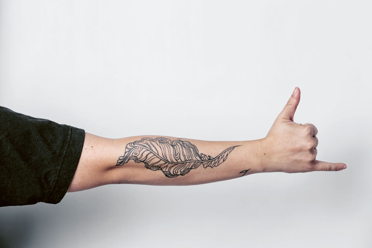 For Nicco Santos, his tattoo can be seen in two ways: a topographical view of a mountain and a turmeric leaf