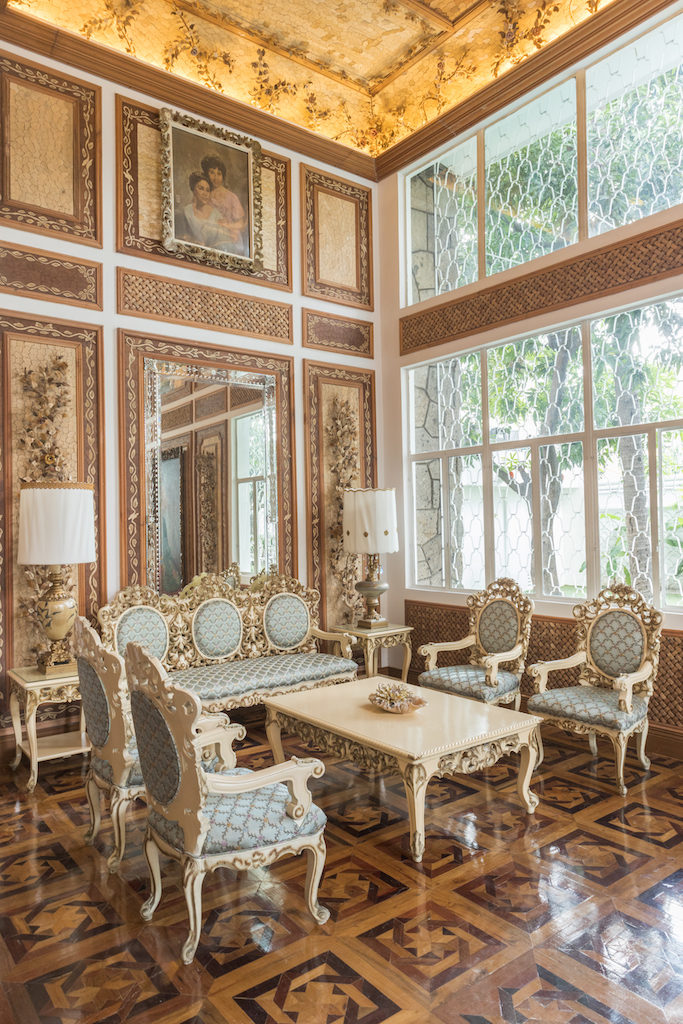 19th century-inspired decor and furniture in one of the function rooms of Casa Juico