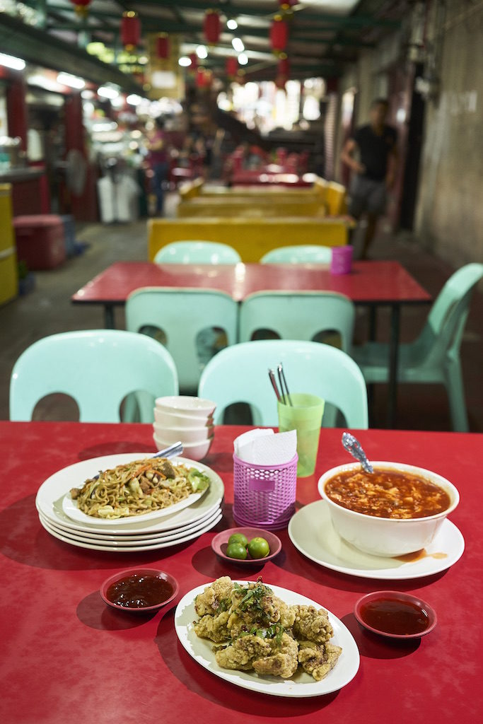 Pancit canton, hot and sour soup, and chicken spareribs from Estero food alley