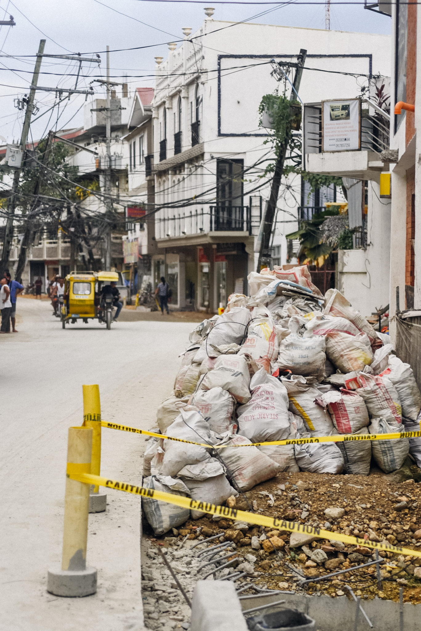 The streets behind Boracay's white beach have yet to be finished