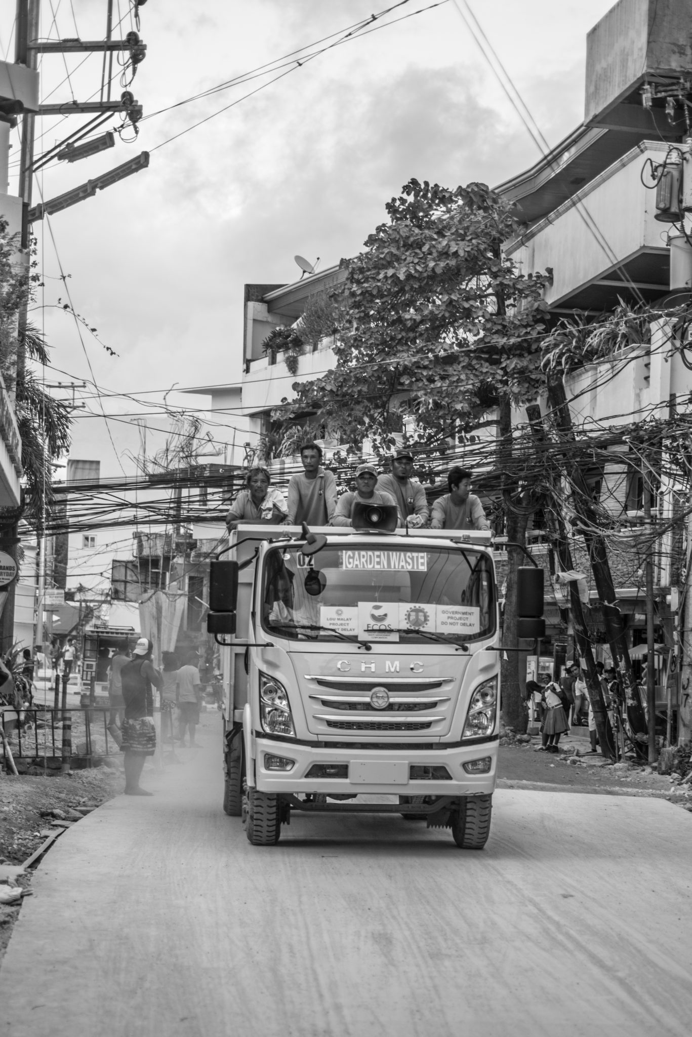 Trucks in Boracay collecting garbage and transporting construction materials remain the only large vehicles on the road