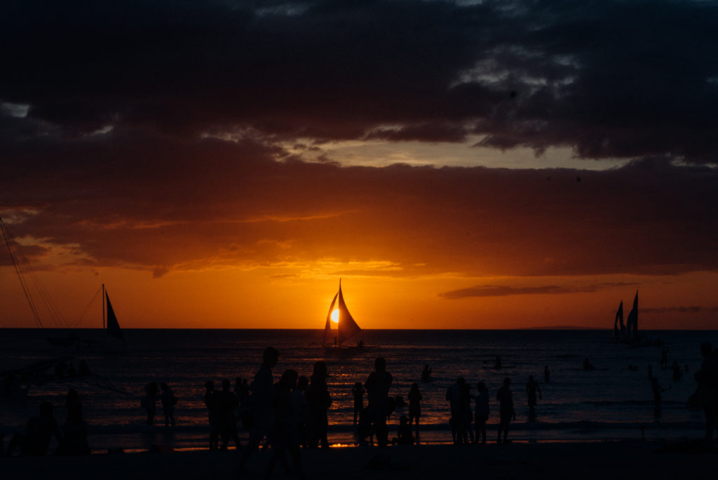 The iconic Boracay sunset was, until recently, framed by paraws bearing signs and images of companies and brands but that's not the case anymore
