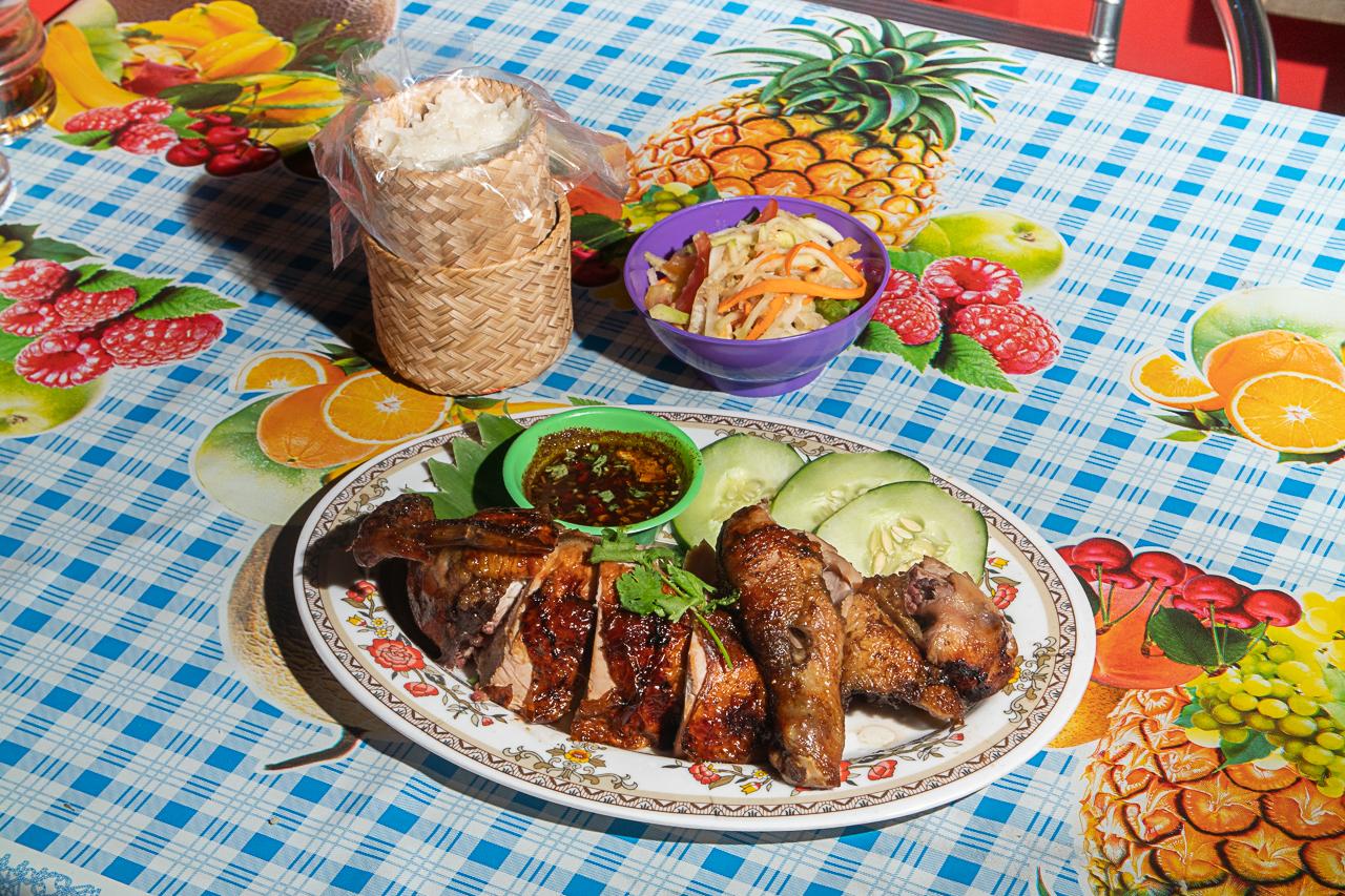 Khao Khai's gai yang with som tam and sticky rice