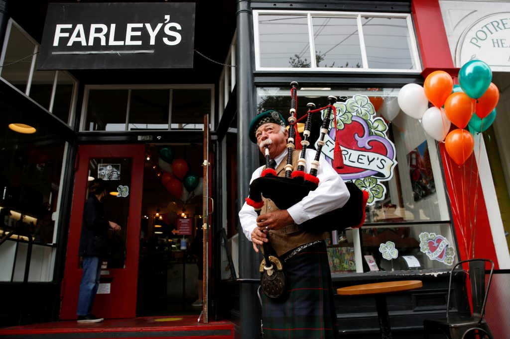 Lynne Miller has played the bagpipes at every anniversary event of Farley's since they opened, except in 2020, when the event was cancelled due to the coronavirus disease (COVID-19) pandemic