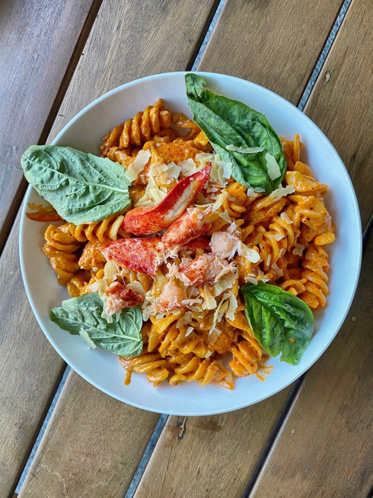Spicy fusilli with lobster