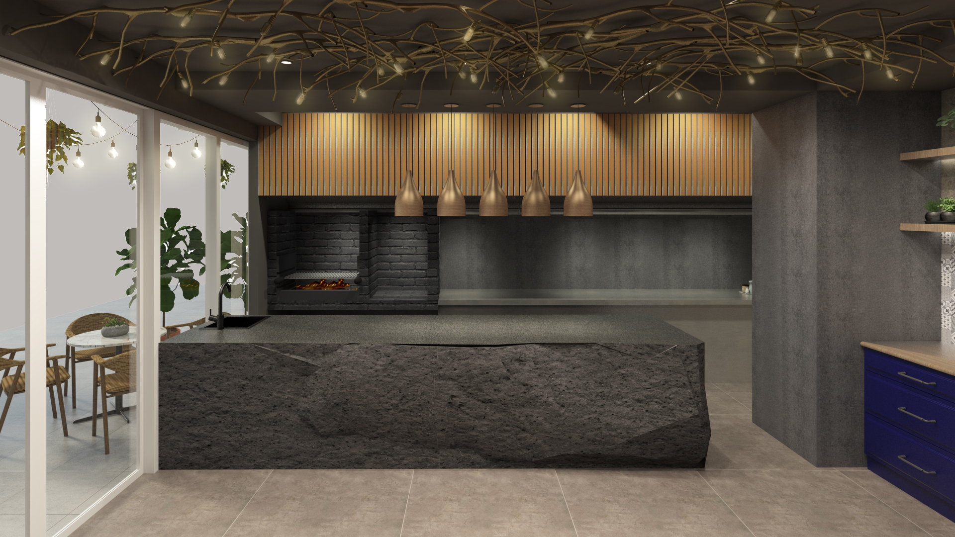 Look out for the Alabang restaurant's open wood-fired kitchen and natural stone counter
