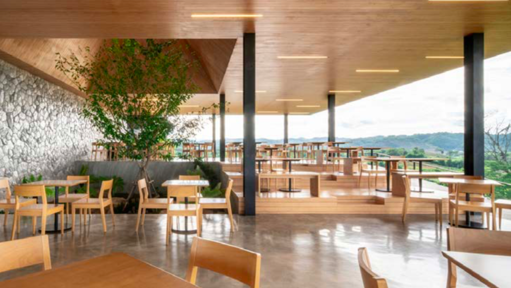 Lounge in any of Hacienda's three-story edifice