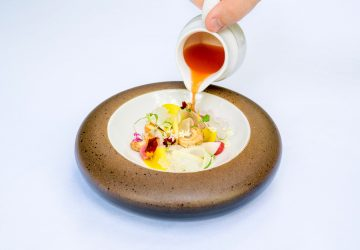 One of the dishes at fine dining establishment Mozaic Restaurant in Bali