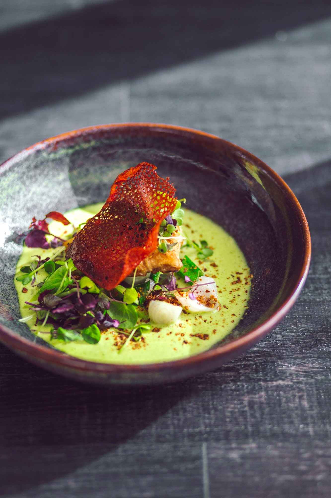 Fine dining restaurants typically have words such as escargot, carpaccio, foie gras, truffles, and lobster on the menu