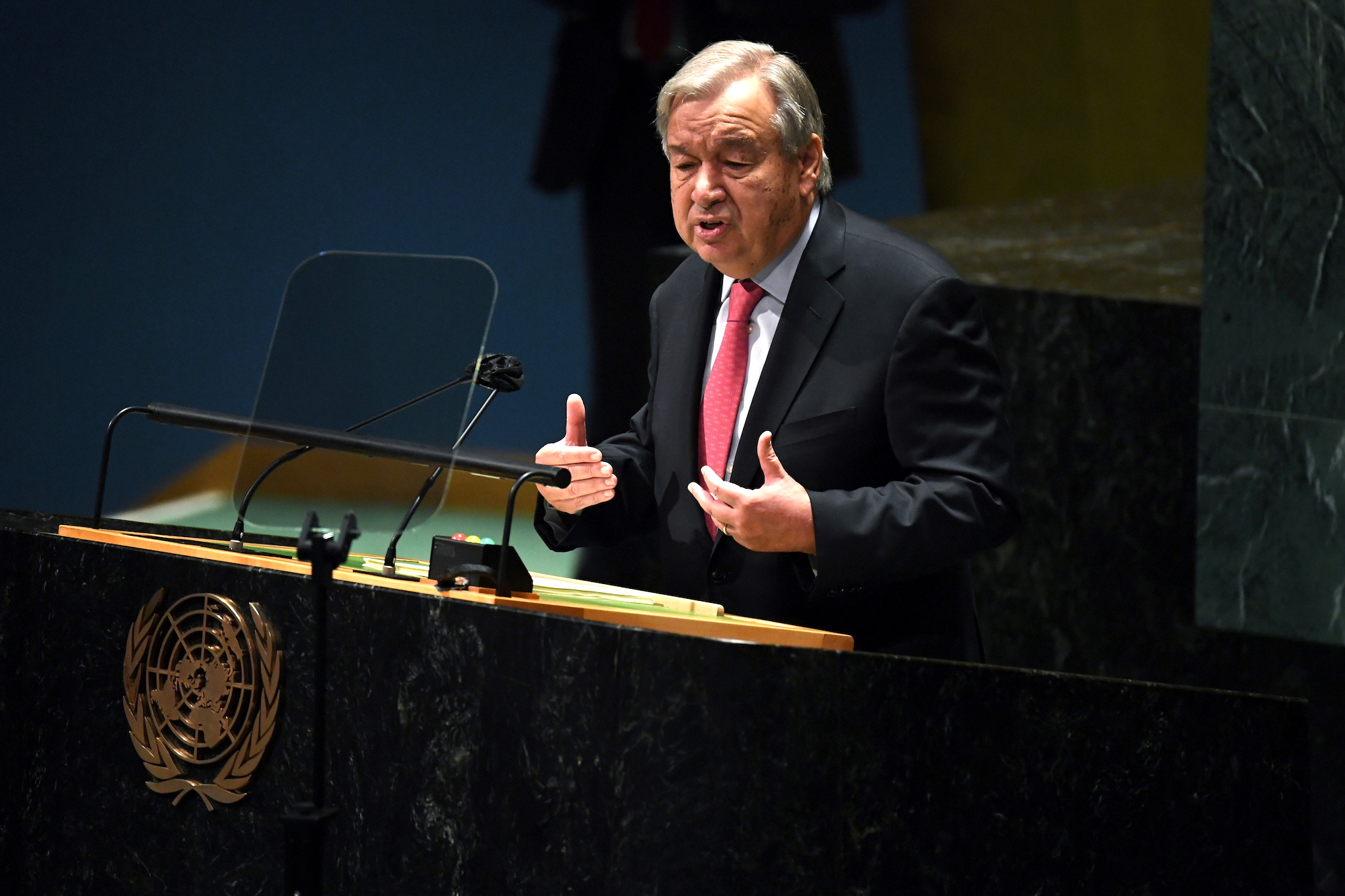 United Nations Secretary General Antonio Guterres speaks during the 76th Session of the General Assembly at UN Headquarters in New York
