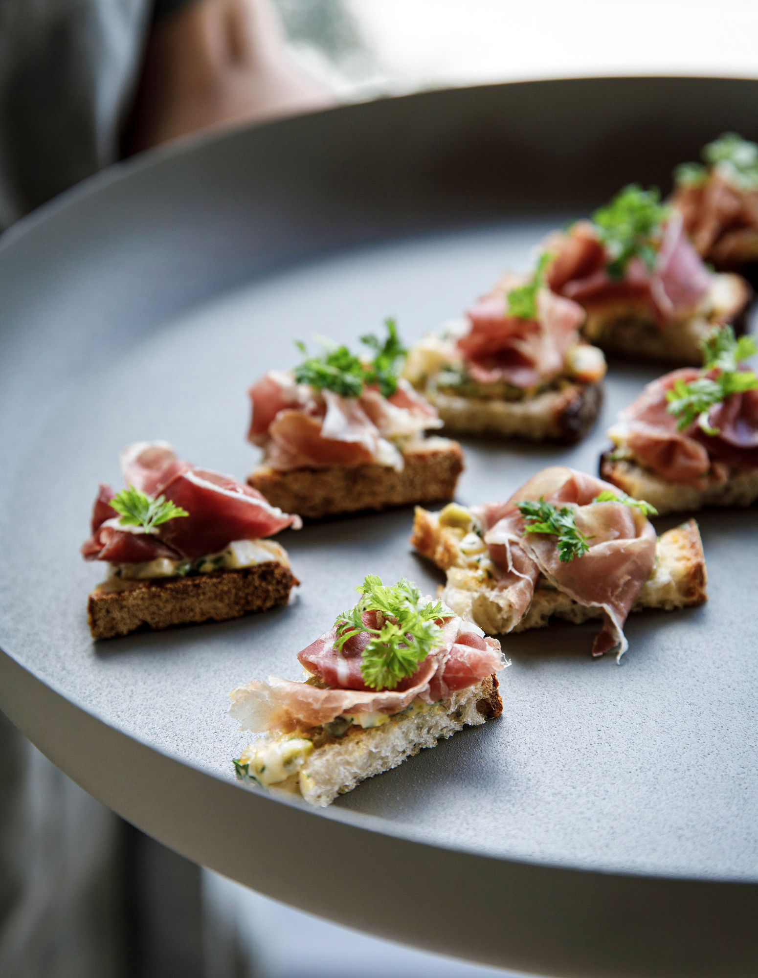 Chef Neil Perry's prosciutto and gribiche on toast for the Lexus Culinary Perspectives cookbook