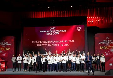 Chefs celebrate on stage during the Michelin Guide 2022 award ceremony in Moscow, Russia